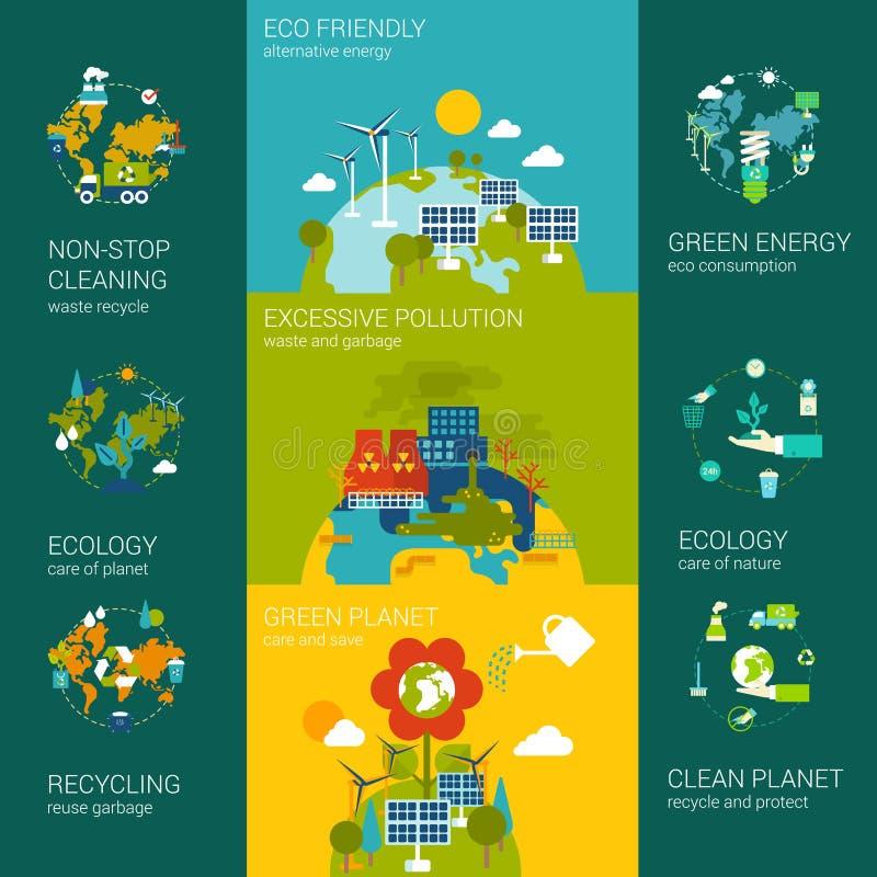 Modello piano di concetto del sito Web di infographics di ecologia illustrazione di stock