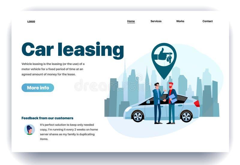 Modello piano di progettazione della pagina Web per leasing dell'automobile illustrazione di stock