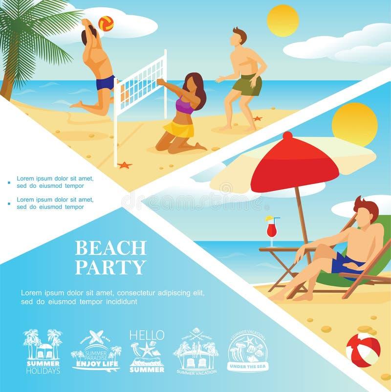 Modello piano di vacanza della spiaggia royalty illustrazione gratis