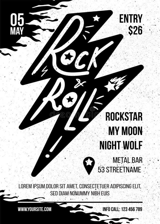 Modello piano di vettore dell'opuscolo di concerto di musica rock royalty illustrazione gratis
