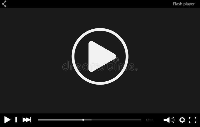 Modello piano nero della barra del riproduttore video per la vostra progettazione Interfaccia istantanea minima d'avanguardia in  illustrazione vettoriale
