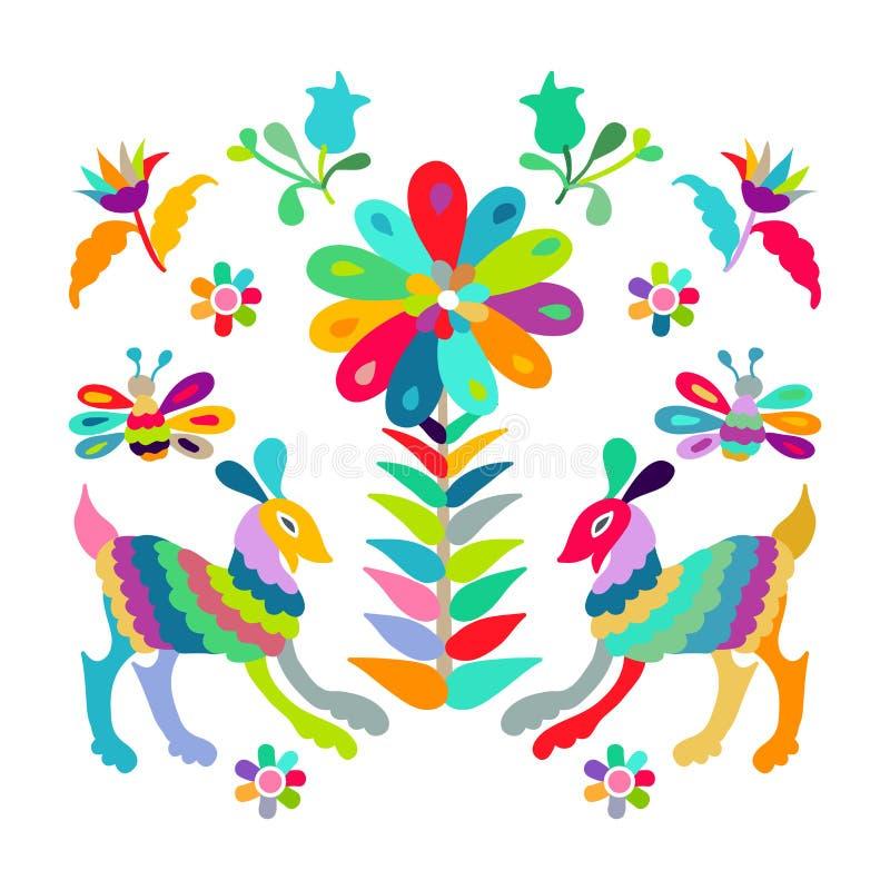 Modello piega del ricamo di stile di Otomi del messicano di vettore royalty illustrazione gratis