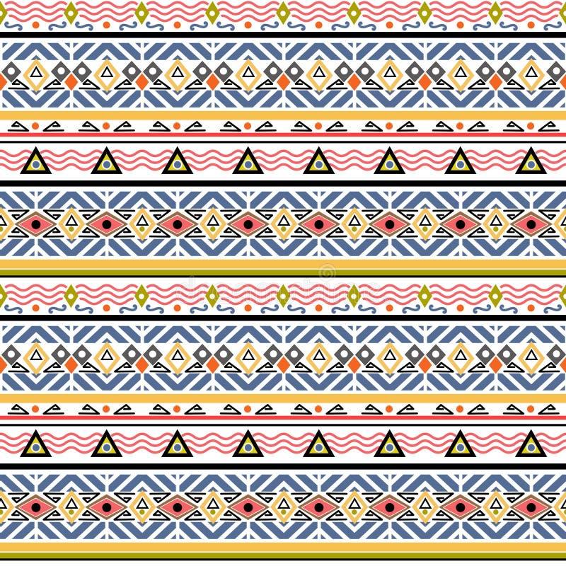 Modello piega di ethno tribale senza cuciture in retro illustrazione vettoriale