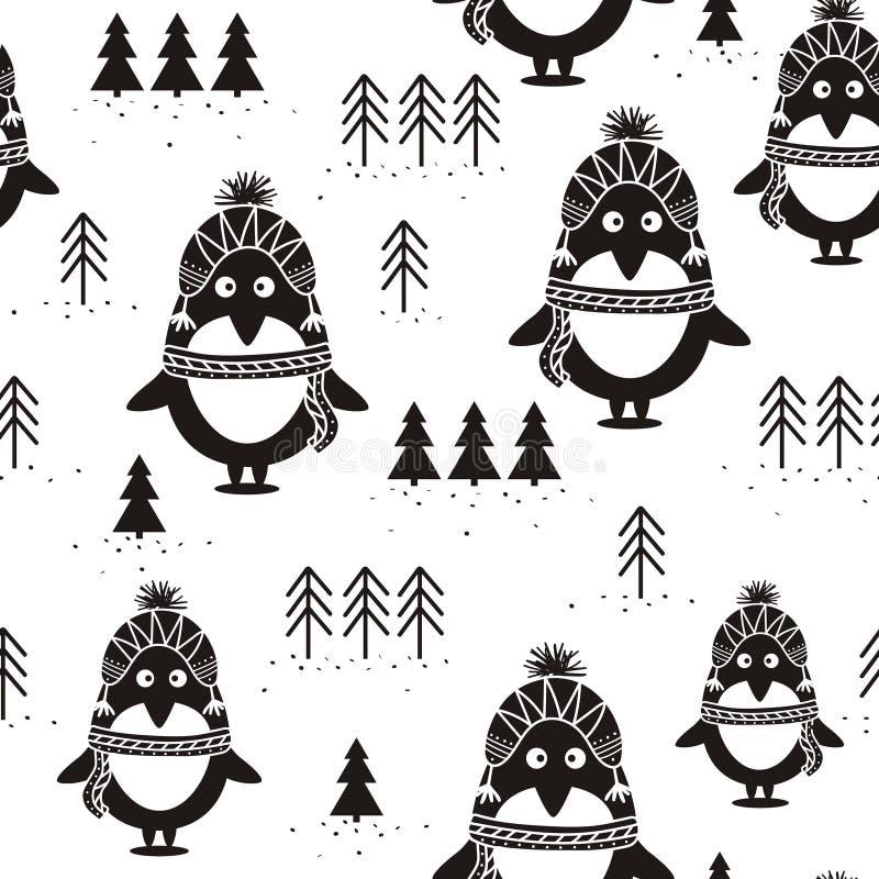 Modello, pinguini ed abeti senza cuciture in bianco e nero, illustrazione vettoriale