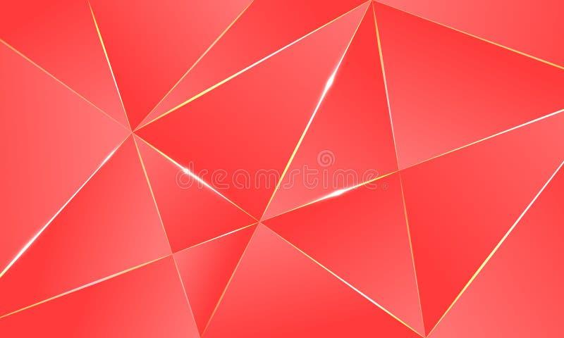 Modello poligonale del fondo premio di corallo di colore illustrazione di stock