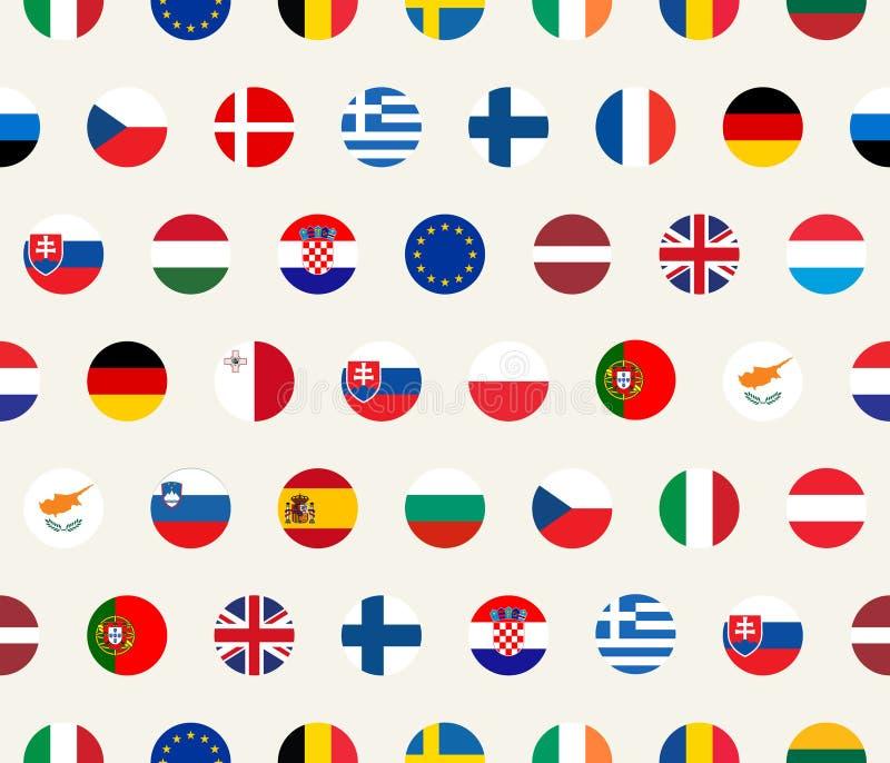Modello politico senza cuciture con le bandiere di stati dell'Unione Europea Vector l'illustrazione variopinta con gli emblemi de illustrazione di stock