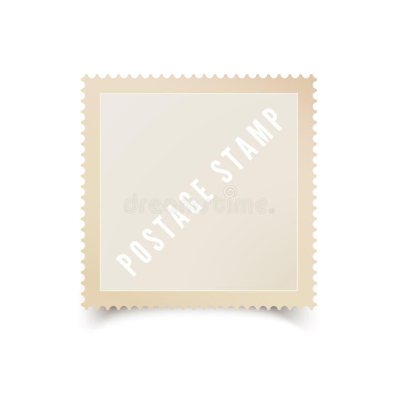 Modello postale vuoto del bollo con ombra Francobollo in bianco per la vostra progettazione Illustrazione di vettore isolata su p illustrazione di stock