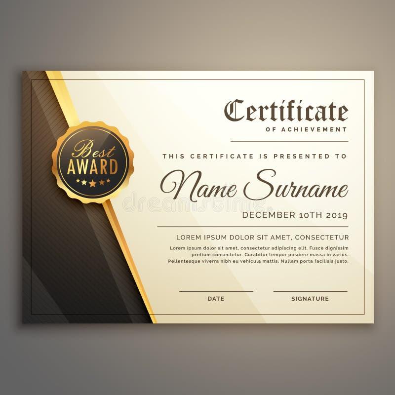 Modello premio di vettore di progettazione del certificato illustrazione di stock
