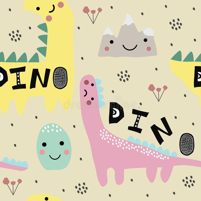 Modello puerile astratto con Dino, dinosauro Modello della scuola materna Illustrazione del bambino illustrazione vettoriale