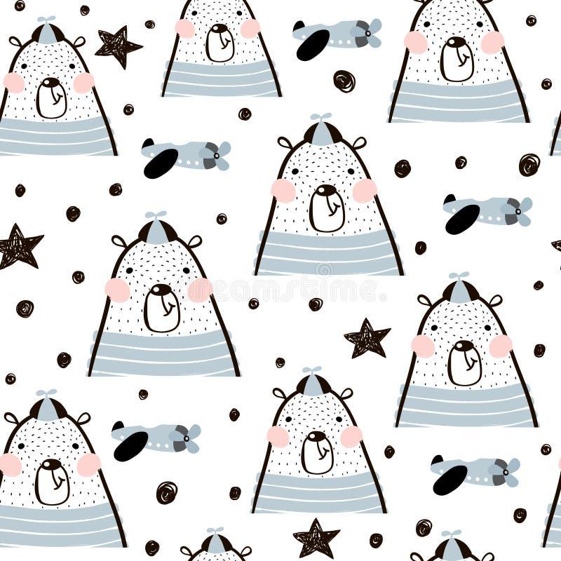 Modello puerile senza cuciture con gli orsi svegli, aereo di aria, stelle I bambini creativi strutturano per tessuto, avvolgendos royalty illustrazione gratis