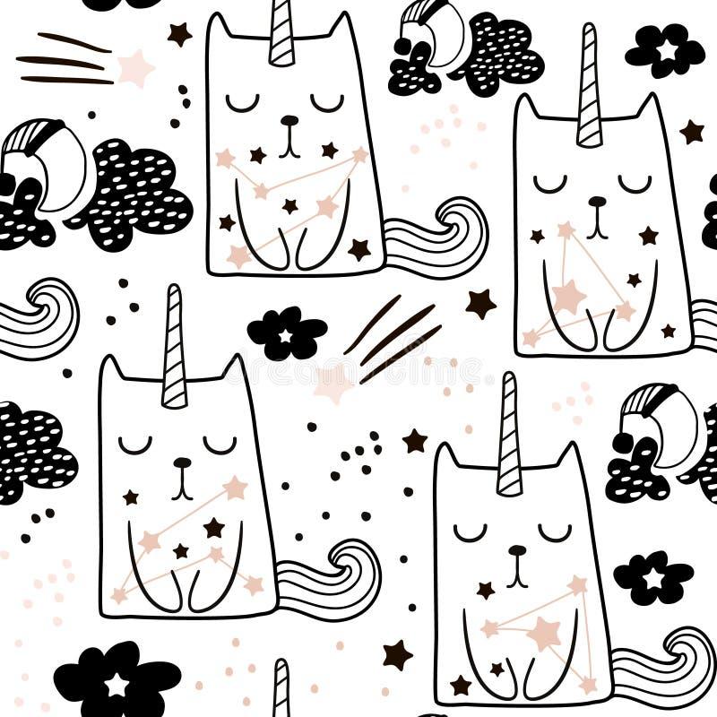 Modello puerile senza cuciture con l'unicorno leggiadramente sveglio del gatto Struttura in bianco e nero creativa per tessuto, a illustrazione vettoriale