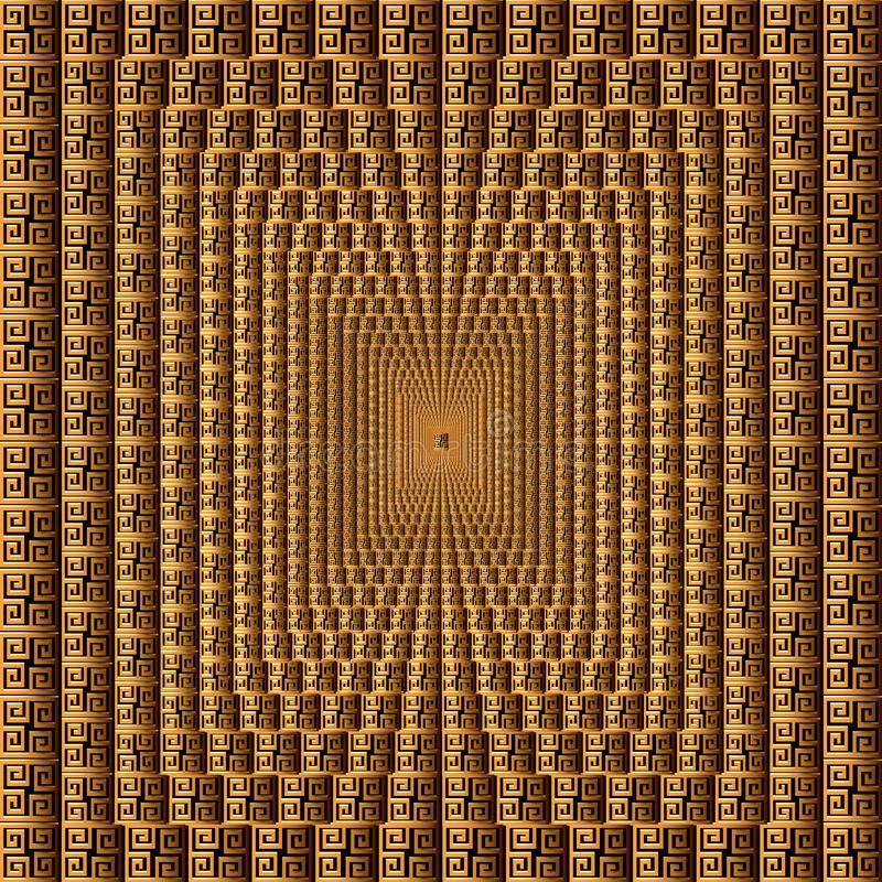Modello quadrato di vettore greco geometrico moderno 3d mattonelle Fondo astratto strutturato dell'ornamentale Ripeti il contesto illustrazione vettoriale
