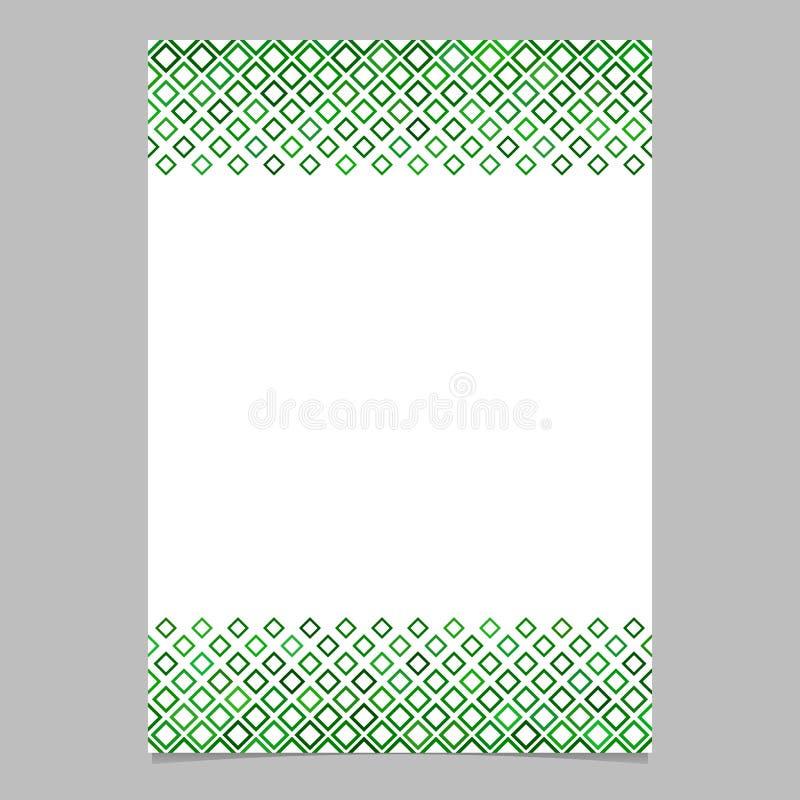 Modello quadrato diagonale verde del fondo dell'opuscolo del modello royalty illustrazione gratis