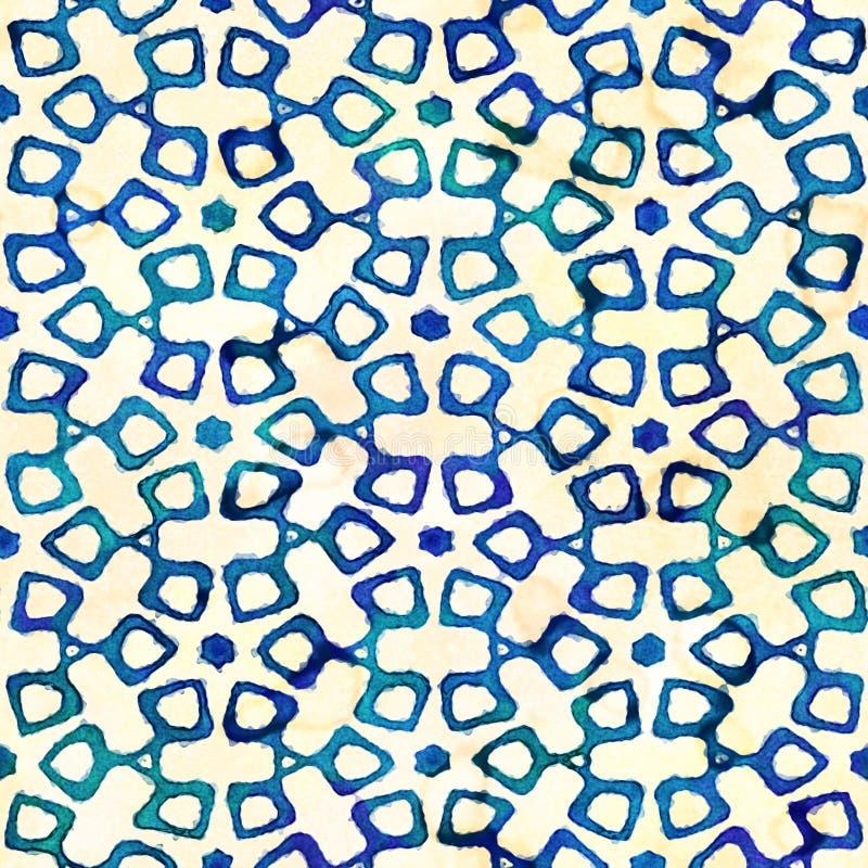 Modello quadrato variopinto del batik dell'acquerello di stile artistico senza cuciture indigeno di boho fotografia stock