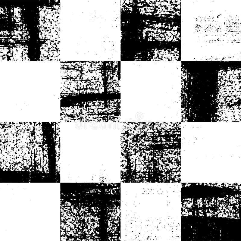 Modello a quadretti in bianco e nero di lerciume illustrazione di stock