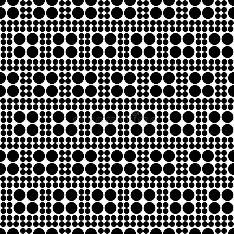 Modello a quadretti senza cuciture astratto dai cerchi delle dimensioni differenti Struttura geometrica in bianco e nero semplice royalty illustrazione gratis