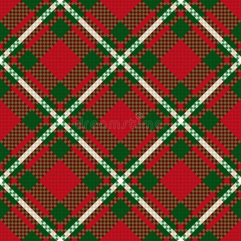 Modello a quadretti senza cuciture diagonale in verde ed in rosso illustrazione di stock