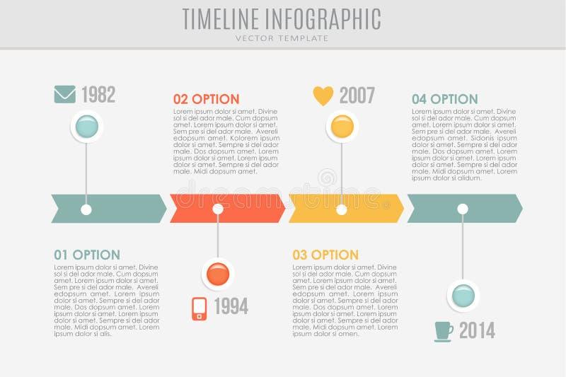 Modello rapporto di cronologia con i bottoni e le icone, illustrazione di stock