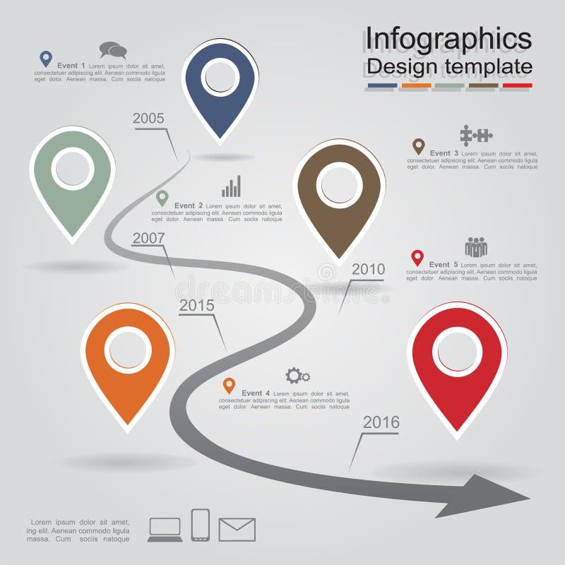 Modello rapporto di Infographic con le frecce e le icone illustrazione di stock
