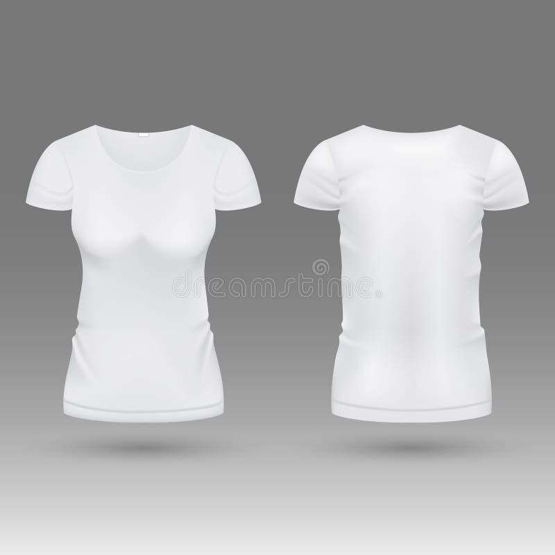 Modello realistico in bianco di vettore della maglietta della donna bianca 3d isolato illustrazione vettoriale
