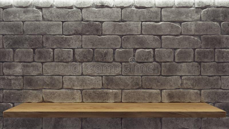 Modello realistico con lo scaffale di legno del muro di mattoni per progettazione della decorazione Fondo dello spazio Scaffale p illustrazione di stock