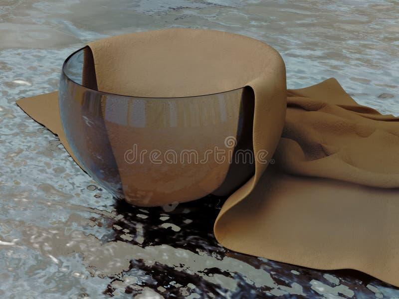 Modello realistico 3D di un contenitore di vetro e di un napk strutturato del tessuto immagine stock
