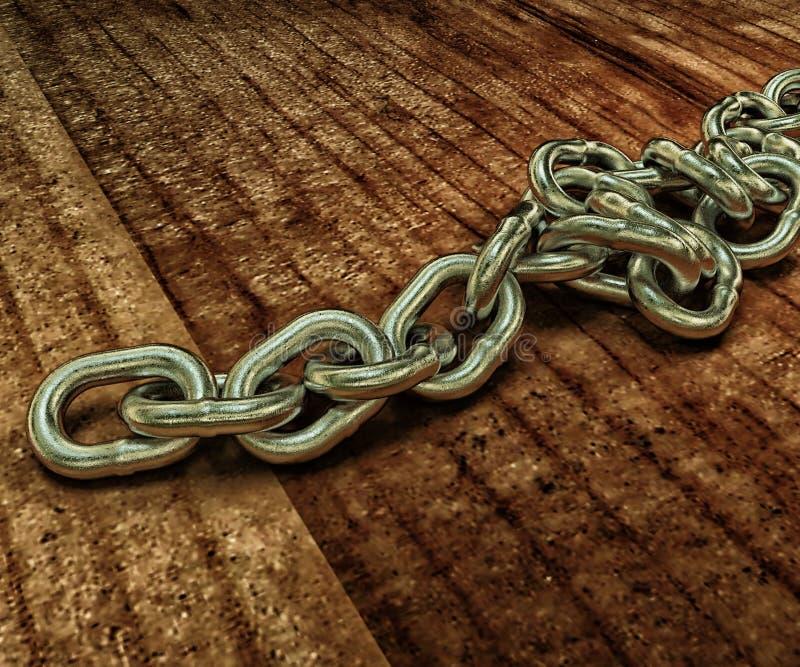 Modello realistico 3D di una catena del metallo sul pavimento di legno 3d si strappano immagini stock libere da diritti