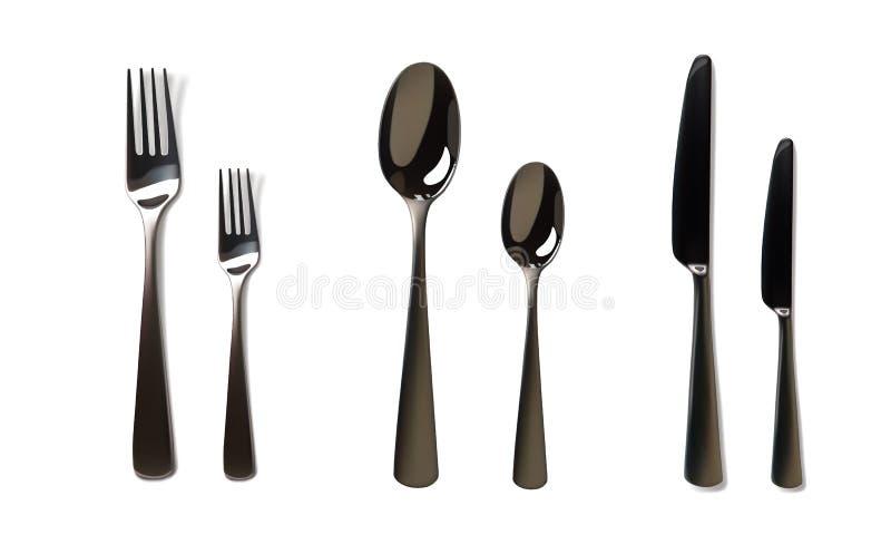 Modello realistico del coltello e della forcella Acciaio inossidabile, articolo da cucina d'argento, posate Illustrazione isolata illustrazione vettoriale