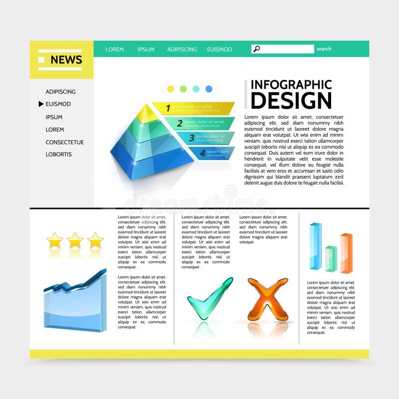 Modello realistico del sito Web di progettazione di Infographic illustrazione di stock