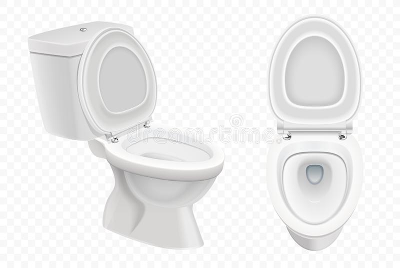 Modello realistico della ciotola di toilette, toilette bianca 3d su alfa fondo trasparente illustrazione di stock