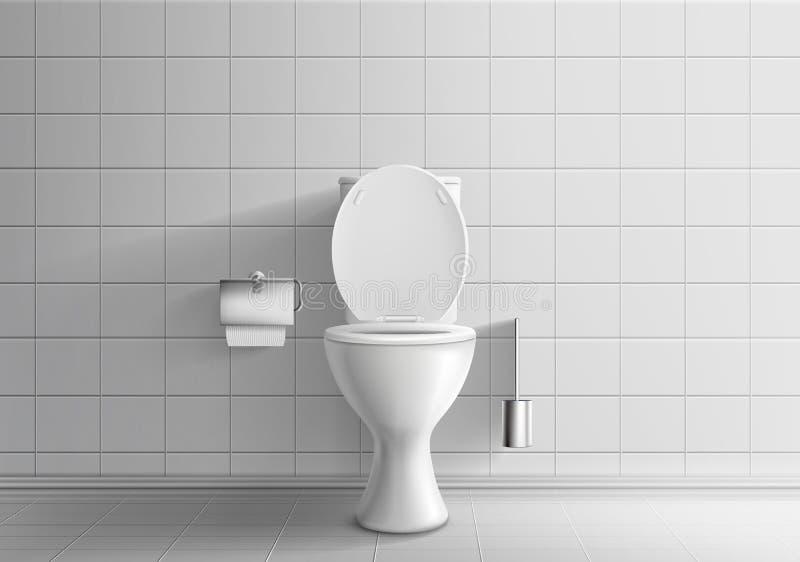 Modello realistico di vettore dell'attrezzatura 3d della stanza della toilette illustrazione vettoriale