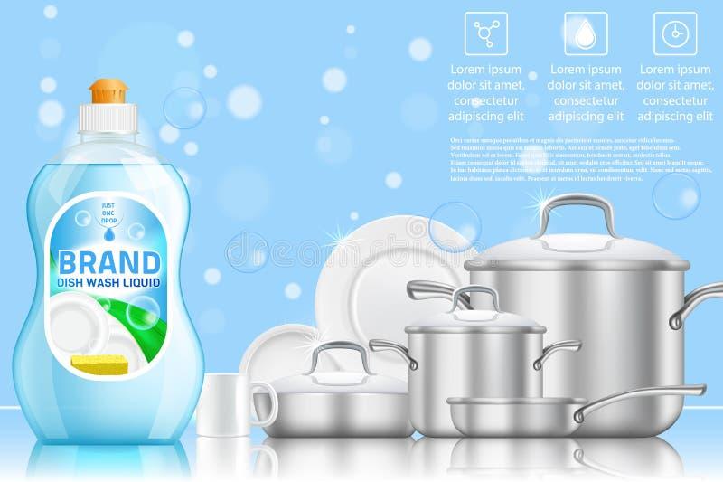 Modello realistico di vettore di pubblicità di lavatura dei piatti illustrazione di stock