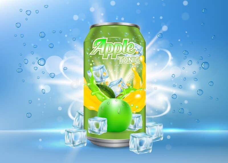 Modello realistico di vettore tonico della latta di alluminio di Apple royalty illustrazione gratis