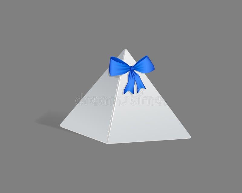 Modello realistico, imballaggio di carta del regalo del modello, in piramide triangolare della forma illustrazione di stock
