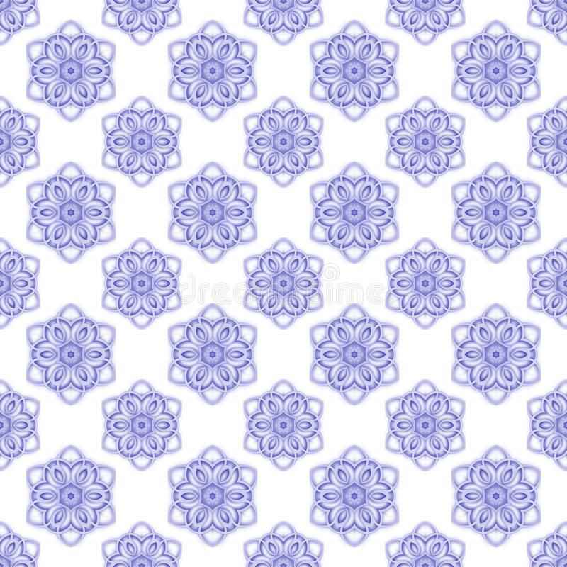 Modello regolare senza cuciture con i fiori Priorità bassa bianca e blu fotografia stock libera da diritti