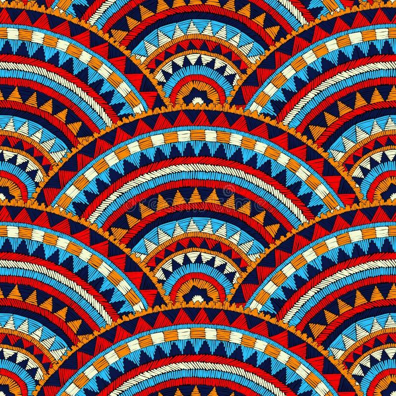 Modello ricamato ondulato senza cuciture handmade Blu, rosso, bianco illustrazione vettoriale