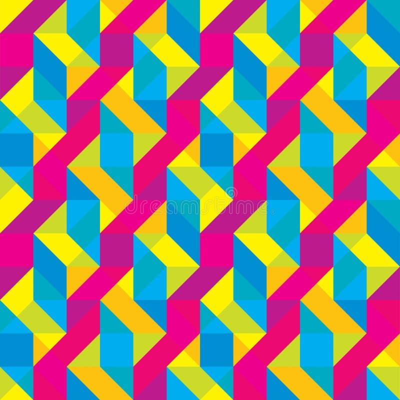 Modello ricoperto senza cuciture di forme poligonali di Cmyk immagine stock libera da diritti