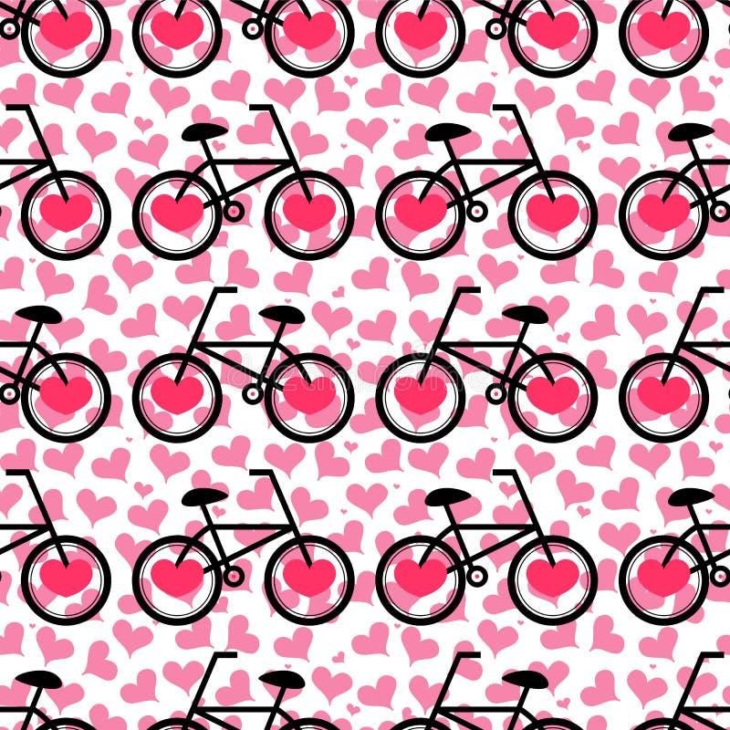 Modello romantico senza cuciture con le biciclette illustrazione di stock