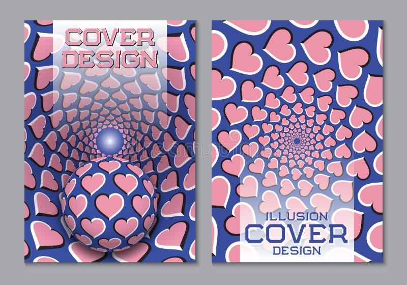 Modello rosa blu di progettazione della copertina di libro di combinazioni colori con gli elementi ottici di illusione di moto illustrazione vettoriale