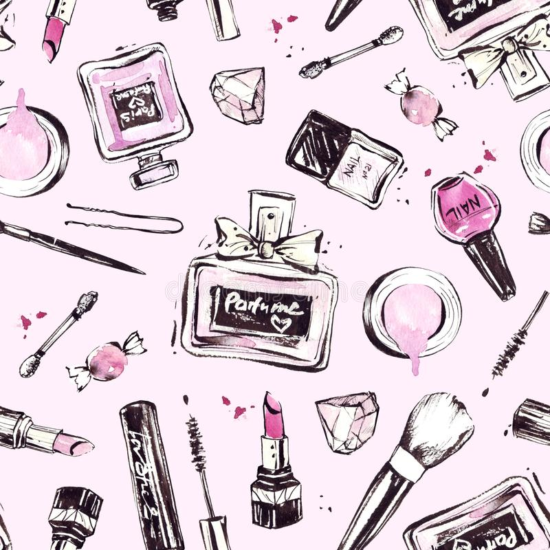 Modello rosa con i cosmetici disegnati a mano royalty illustrazione gratis