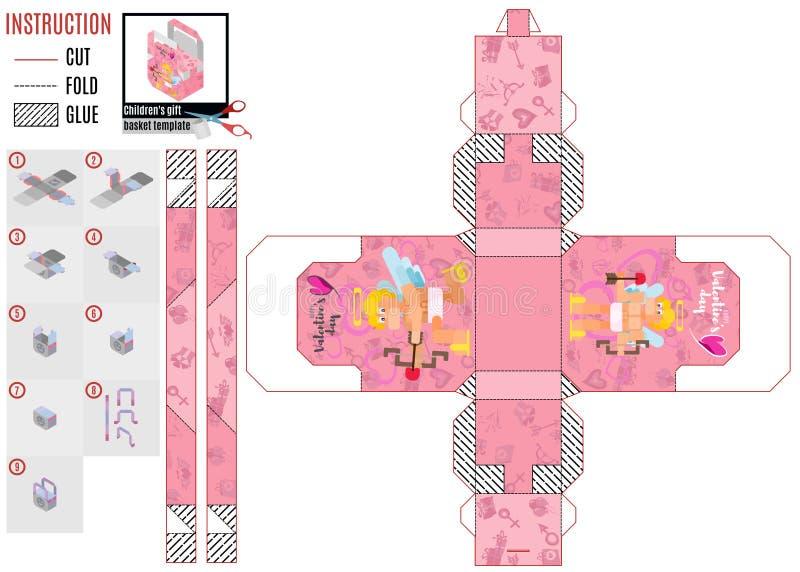 Modello rosa della scatola del cupido nello stile piano illustrazione vettoriale