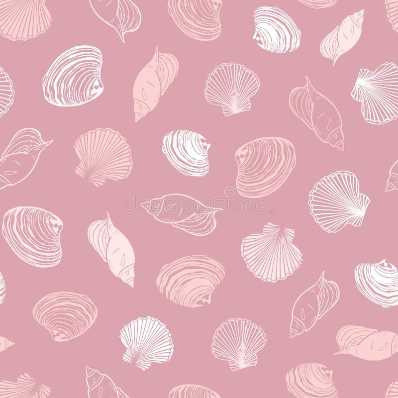 Modello rosa di corallo di ripetizione di vettore con varietà di conchiglie Perfezioni per i saluti, gli inviti, la carta da imba illustrazione vettoriale
