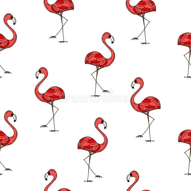 Modello rosa di estate degli uccelli dei fenicotteri Illustrazione di vettore illustrazione vettoriale