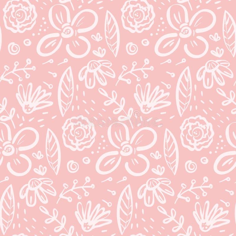Modello rosa divertente di scarabocchio con i grandi elementi floreali illustrazione di stock