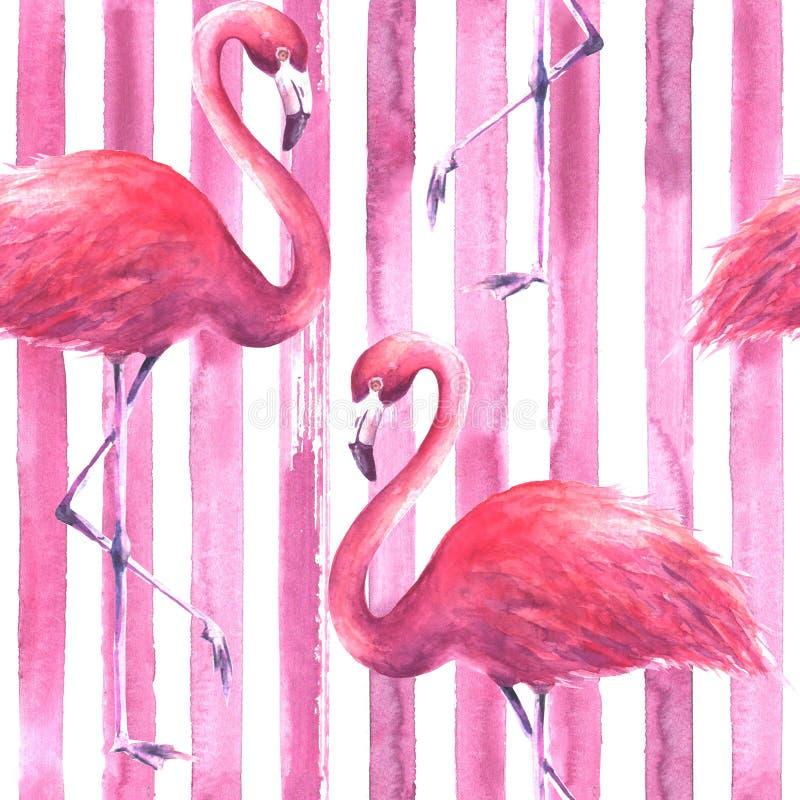 Modello rosa senza cuciture dei fenicotteri royalty illustrazione gratis