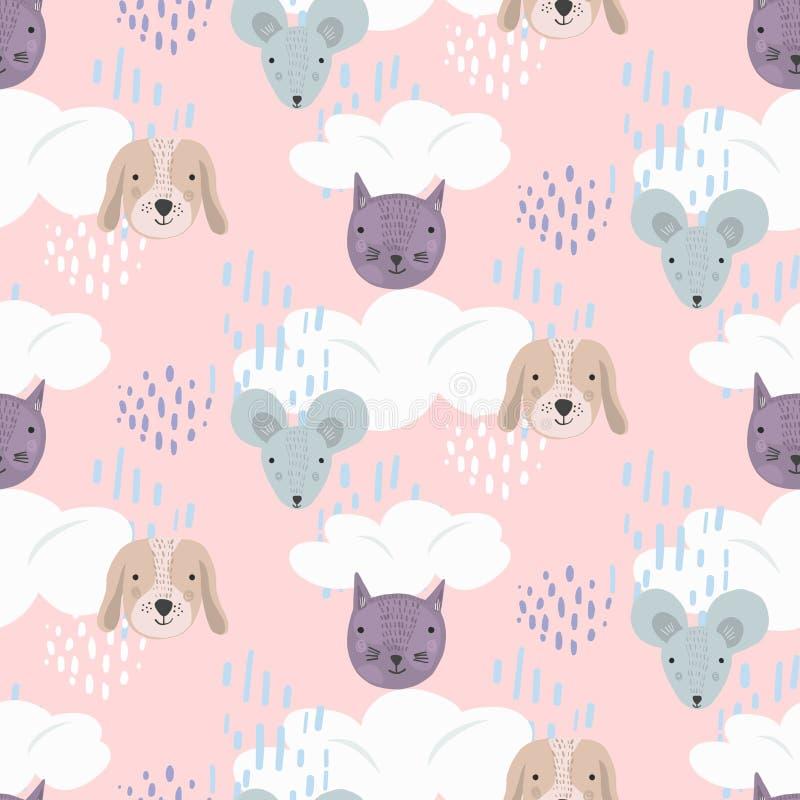 Modello rosa sveglio del fumetto con i gatti, i cani ed i topi illustrazione vettoriale