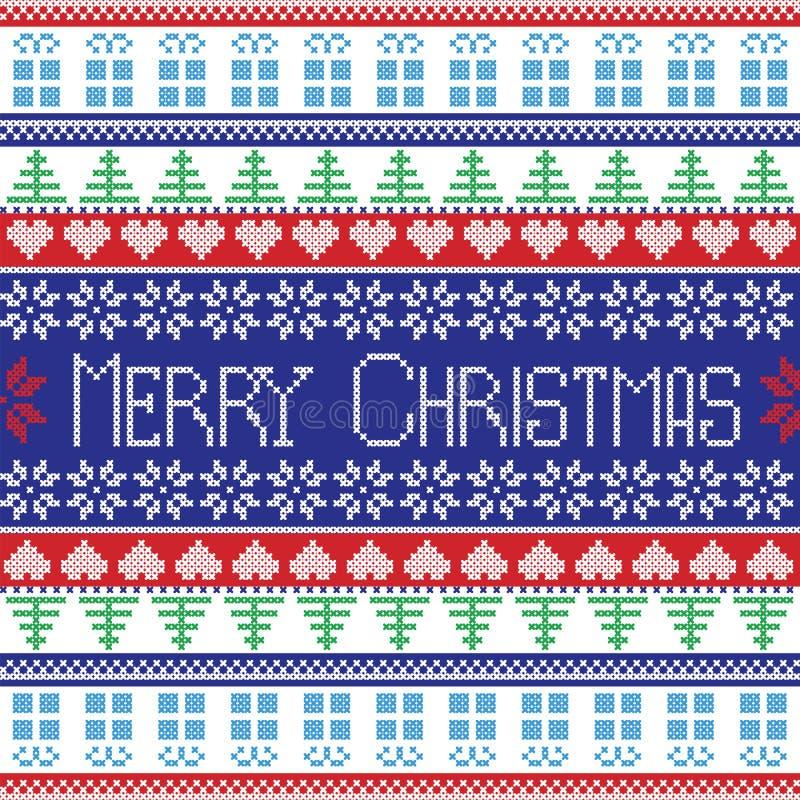 Modello rosso, blu, verde e bianco di Buon Natale con gli alberi decorativi degli elementi, fiori, regali di Natale in styl scand royalty illustrazione gratis