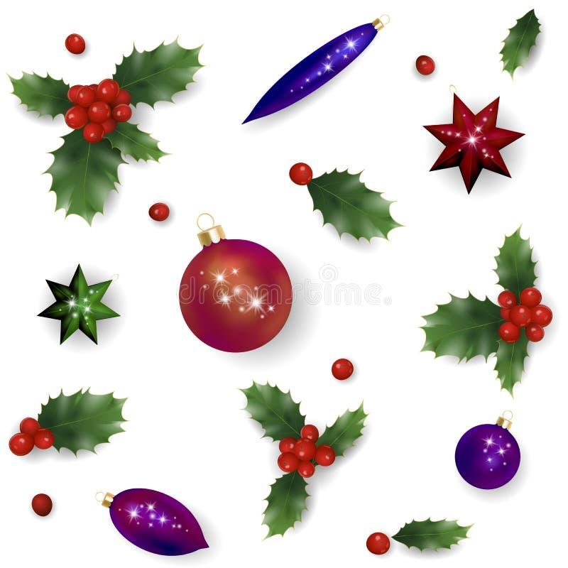 Modello rosso della bacca dell'agrifoglio del nuovo anno realistico di Natale L'insieme di elementi d'annata di progettazione del illustrazione vettoriale