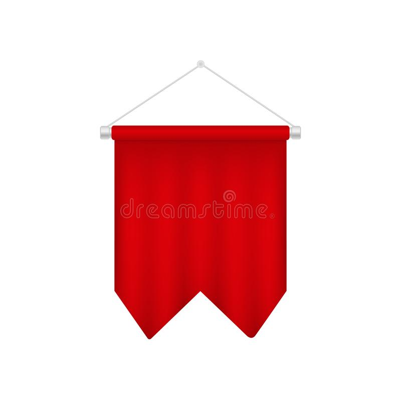 Modello rosso dello stendardo di calcio Bandiera realistica di calcio 3D illustrazione di stock