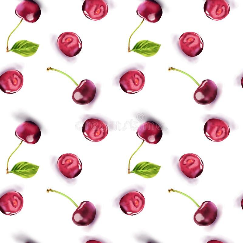 Modello rosso di ripetizione delle ciliege illustrazione vettoriale